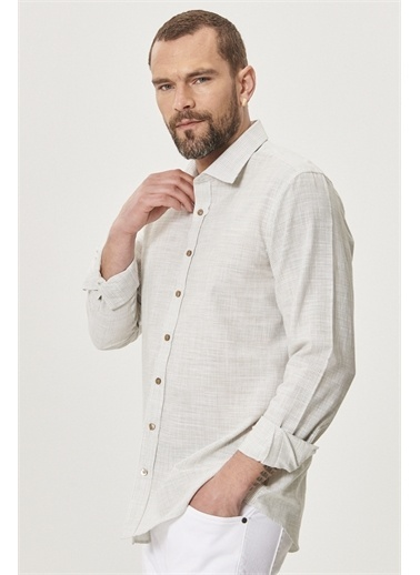 AC&Co / Altınyıldız Classics Tailored Slim Fit Klasik Gömlek Yaka %100 Koton Gömlek 4A2021200021 Haki